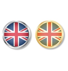 UK flag button with silver and gold vector image vector image