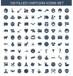 100 cartoon icons vector