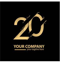 20 year anniversary luxury gold template design vector