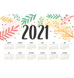 2021 new year calendar with flower decoration vector