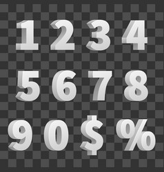 3d numbers isolated on transparent vector image