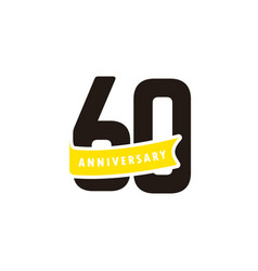 60 years anniversary number with yellow ribbon vector