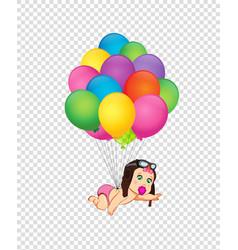 Baby girl girlarriving on bunch of helium vector