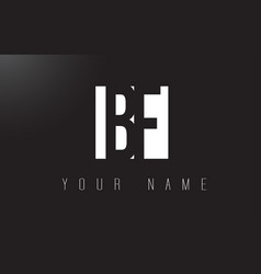 Bf letter logo with black and white negative vector