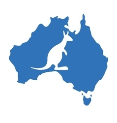 Blue map australia with silhouette kangaroo vector