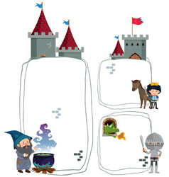 Border template with wizard and knight vector