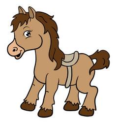 Cartoon farm animals cute horse smileseps 10 vector