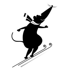 cartoon rat or mouse a ski jumper black on white vector image