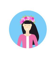 Cheerful asian woman face avatar girl in wreath vector