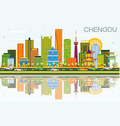 Chengdu china skyline with color buildings blue vector