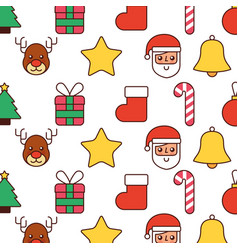 christmas decoration santa sock gift cane star vector image