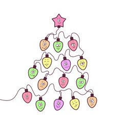 christmas garland fun bulbs vector image
