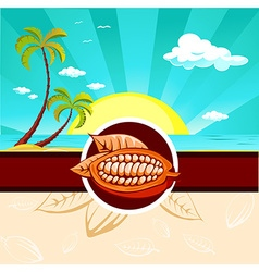 cocoa bean design with tropical nature vector image