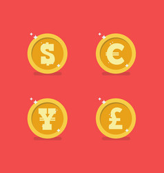 Coins of different currencies vector