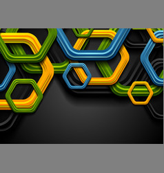 colorful abstract tech hexagons corporate vector image