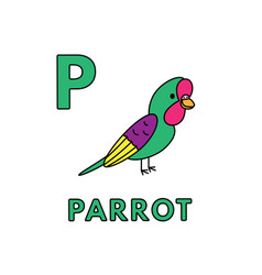 Cute cartoon animals alphabet parrot vector