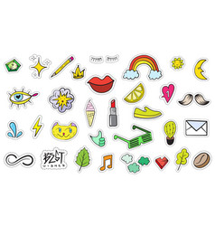 Cute colorful modern patch set fashion patches vector