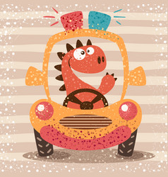 cute dino drive funny car vector image