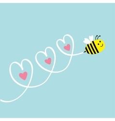 cute flying bee three hearts in sky greeting vector image