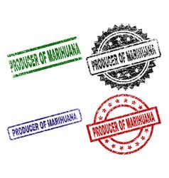 Damaged textured producer of marihuana stamp seals vector