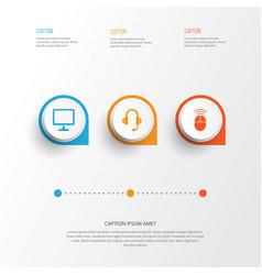 Digital icons set collection of earphone desktop vector