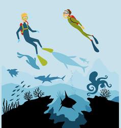 Diver explorers and reef underwater wildlife vector