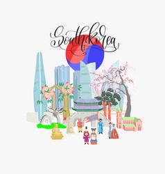 doodle flat south korea vector image