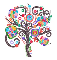 Doodle marker hand drawing ornate tree vector