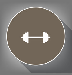 dumbbell weights sign white icon on brown vector image