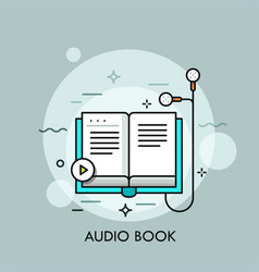 Earphones connected to paper book and play button vector