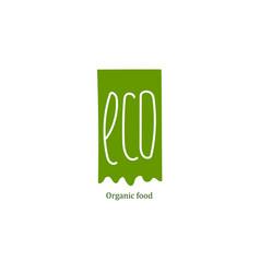 eco food label at green backdrop vector image