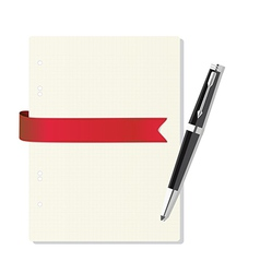 Exercise book in a cage pen red ribbon vector