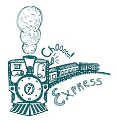 Express steam train print for kids vector
