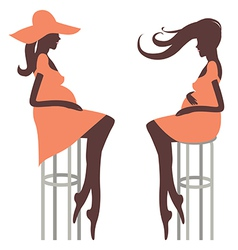 Fashionable pregnancy Two young woman vector image