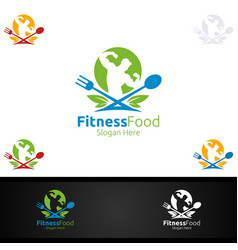 Fitness food logo for nutrition or supplement vector