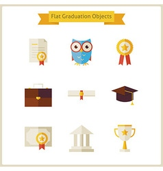 Flat School Graduation and Success Objects Set vector