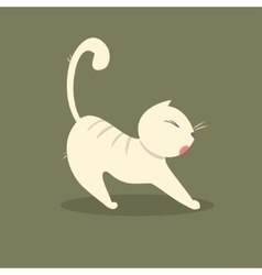 Funny fat cat stretches vector image