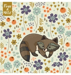 Funny little raccoon vector image