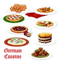 german cuisine meat and fish dishes vector image