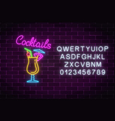 glow neon sign of cocktails bar with alphabet vector image