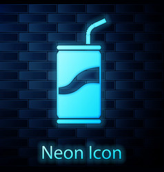 glowing neon soda can with drinking straw icon vector image