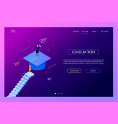 graduation concept - modern isometric web vector image