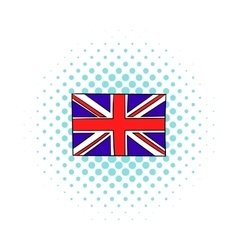 Great Britain flag icon comics style vector image