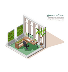 Green office colored and isometric composition vector