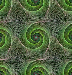 Green repeating wired fractal spiral pattern vector