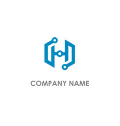 h initial technology business logo vector image
