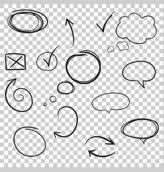 hand drawn arrows and circles icon set collection vector image