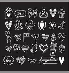 Hand drawn set of cute romantic doodle elements vector
