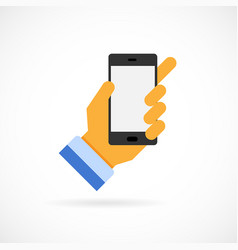hand holding a mobile phone vector image