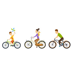 happy family cycling along road in natural vector image